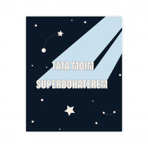 kartka okolicznościowa dla taty z napisem tata moim superbohaterem