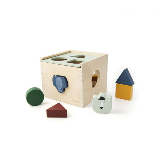 drewniany sorter z kolorowymi klockami animals trixie